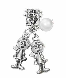 June Twins Boys Brothers Babies Pearl Birthstone Charm for E