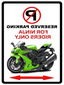 Kawasaki Ninja Motorcycle Cartoon No Parking Sign