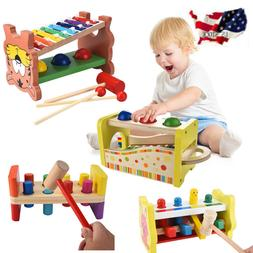 Kid Wooden Hammering Pounding Toys + 8 Notes Xylophone + Sha