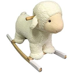 Kids Durable Plush Rocking Baby Lamb Rocker With Solid Maple