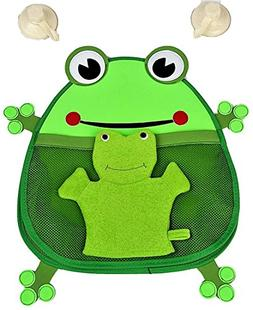 Kids Frog Bath Toy Organizer with Bonus Wash Mitt and 2 Stro