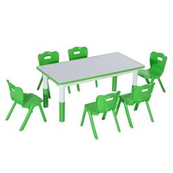Qaba 7 Piece Kids Learning Activity Table and Chair Set - Gr