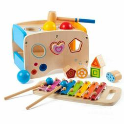 Kids Wooden Learning Hammering & Pounding Toys Xylophone Sha