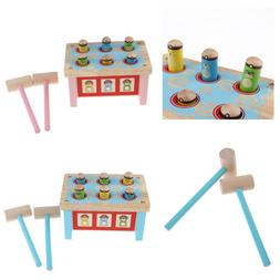 Kids Wooden Pounding Bench Peg Toy & Hammer for Toddlers Inf