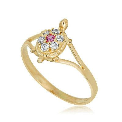 10k yellow gold pink cubic zirconia cz