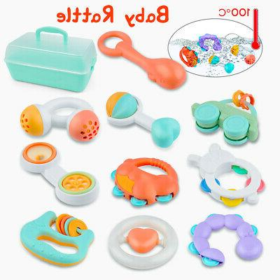 10pcs Shaker and Spin Rattle Toy Set for Babys