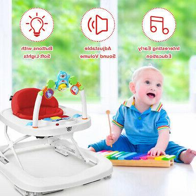 2-in-1 Foldable Baby w/ Adjustable Detachable Tray