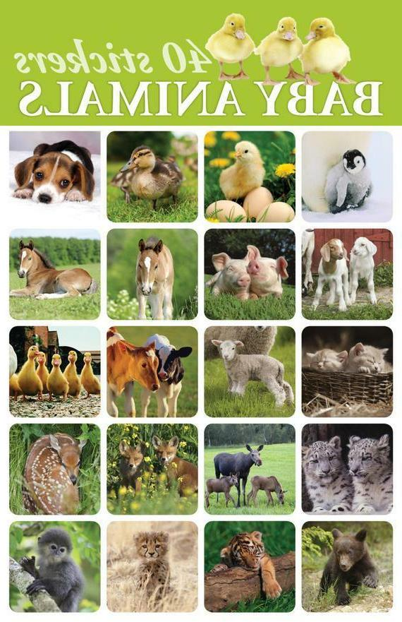 40 baby animals stickers for scrapbooking or