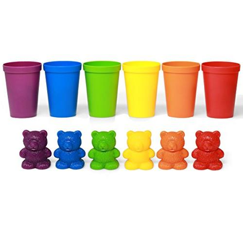 72 Colored Bears Cups for Children, Toys, Colorful Educational for STEM Education, Mathematics, Counting and Sorting Toys for