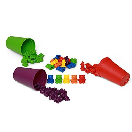 72 Colored Bears with Cups Children, Toys, Colorful Tool for Learning Education, Mathematics, and Sorting Toys for Autism