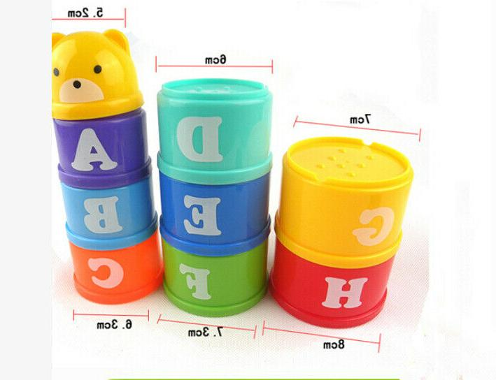 9Pcs Stacking Educational Toddlers Bathtub Toys Set for Baby