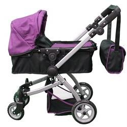 Babyboo Deluxe Doll Pram Color PURPLE & BLACK with Swiveling