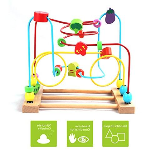 BATTOP Wooden Bead Roller Coaster First Bead Maze for Kids
