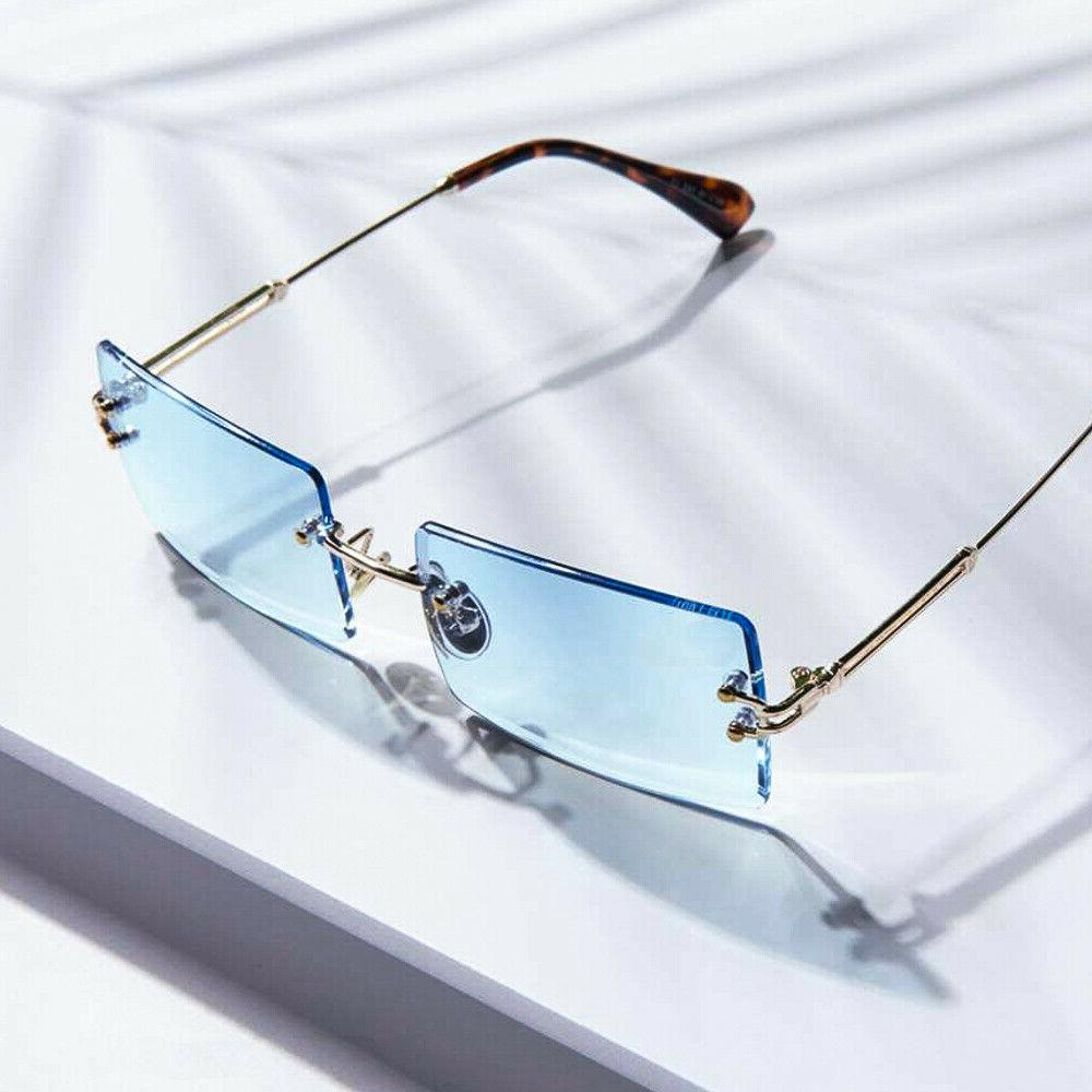 AAA Blue Retro Rectangle Vintage Rimless