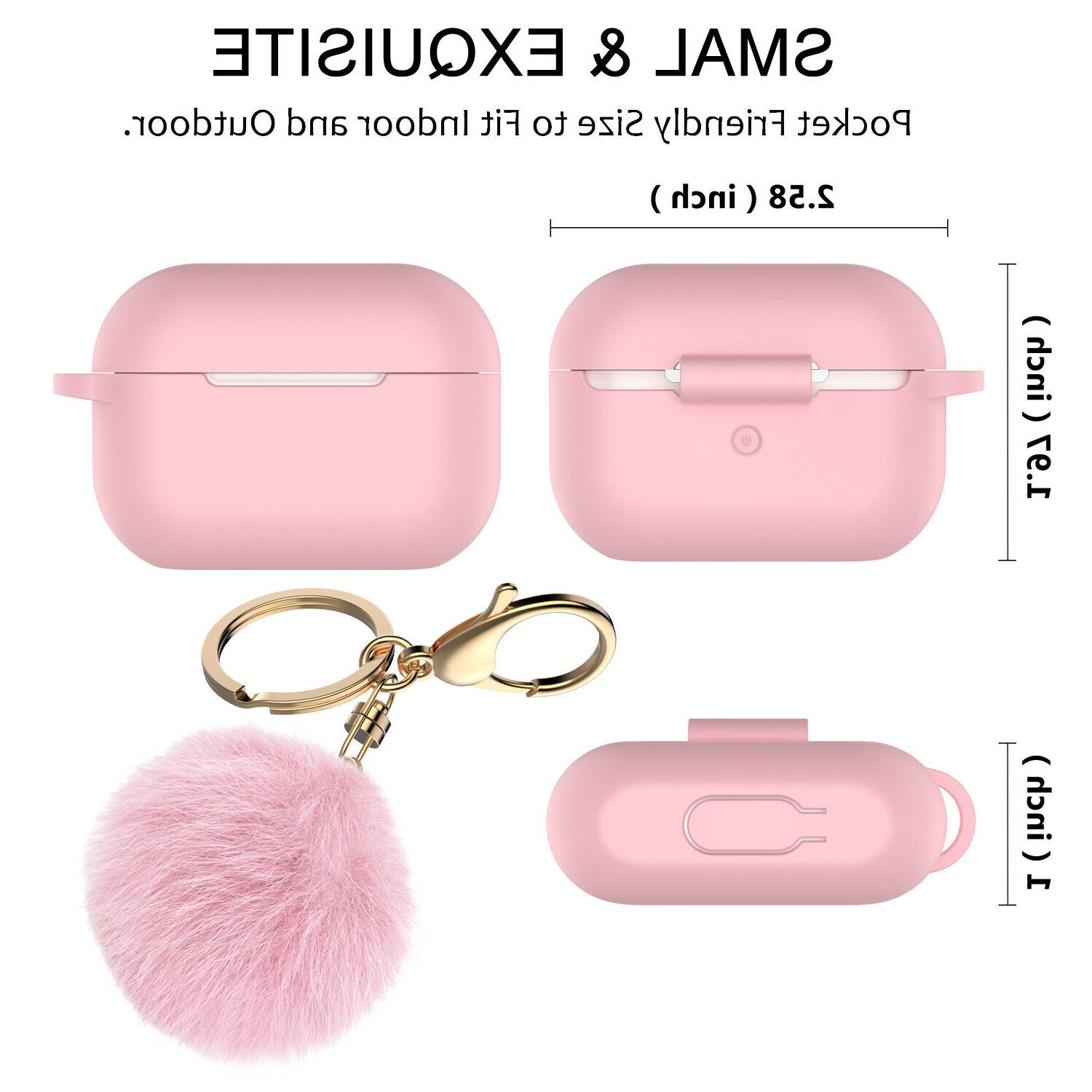 For AirPods Pro Silicone Charging Case Cute Cover with Fur Ball