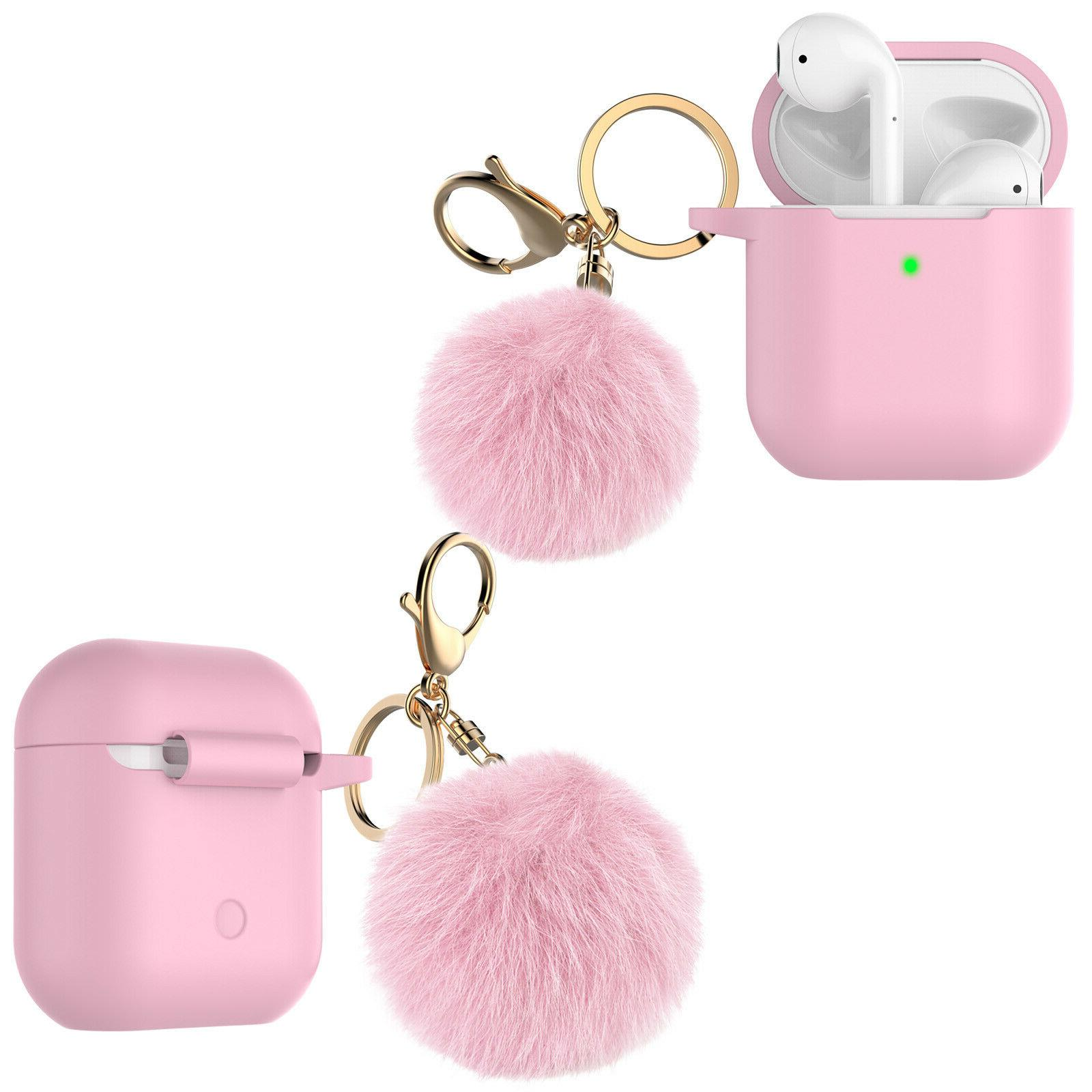 Airpods Protective Skin Case With Ball Keychain/Strap