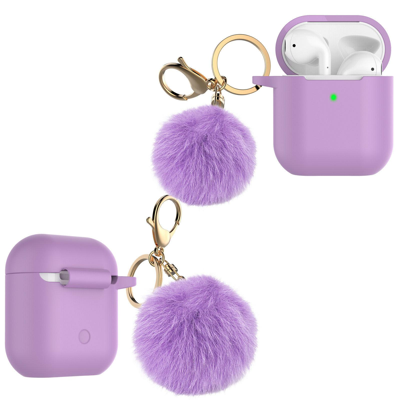 Airpods Silicone Cover Skin Case With Fur Ball