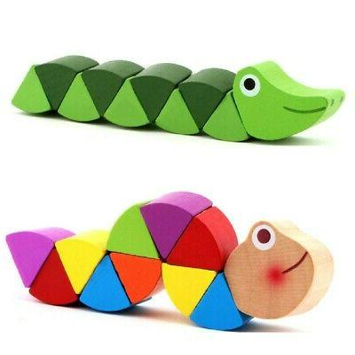 US Baby Kids Wooden Twist Insects Toys Child Educational Tra