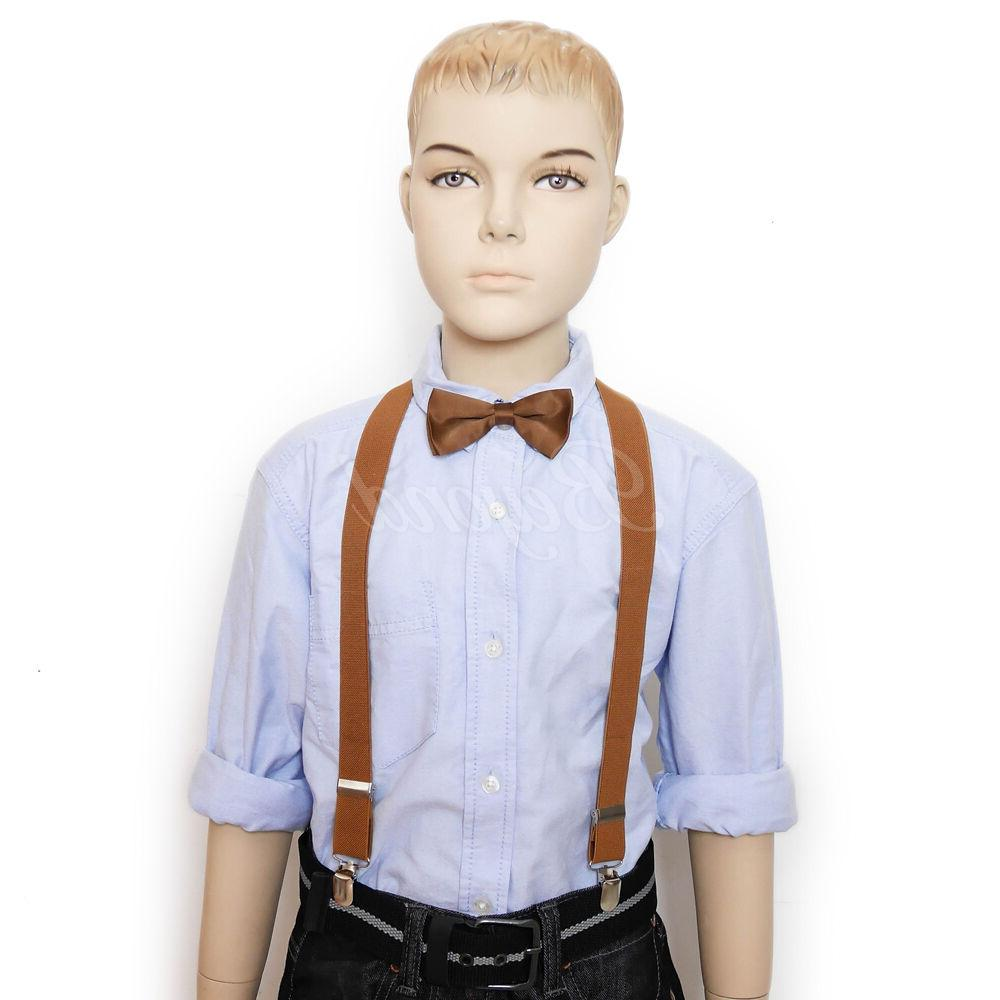 Brown Suspender and Tie Toddler Kids