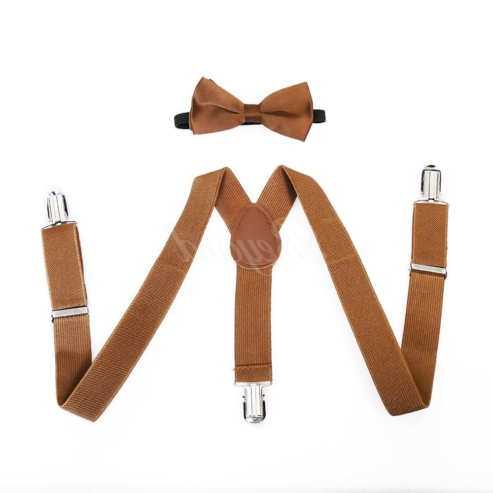 brown suspender and bow tie set