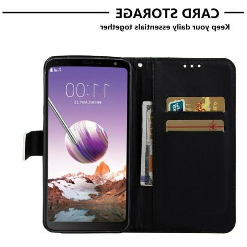 Cute Magnetic Leather Wallet Card Holder Flip Stand Case For LG Phones