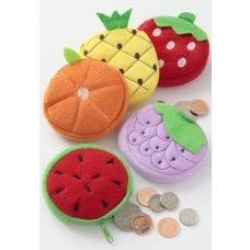 Children's Small Fruit Plush Fabric Zip Purse ~ 5 Designs ~