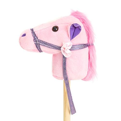 Best Kids Stick Horse Stuffed Plush Toy w/ 2 Different Sounds - Pink