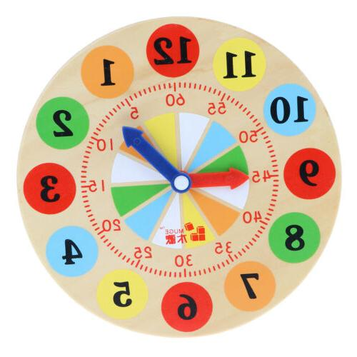 Kids Baby's Colorful Wooden Time Clock Teaching Aids for Pre