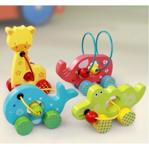 Kids Children Babies Animals Wooden Pull Toys Colourful Pres