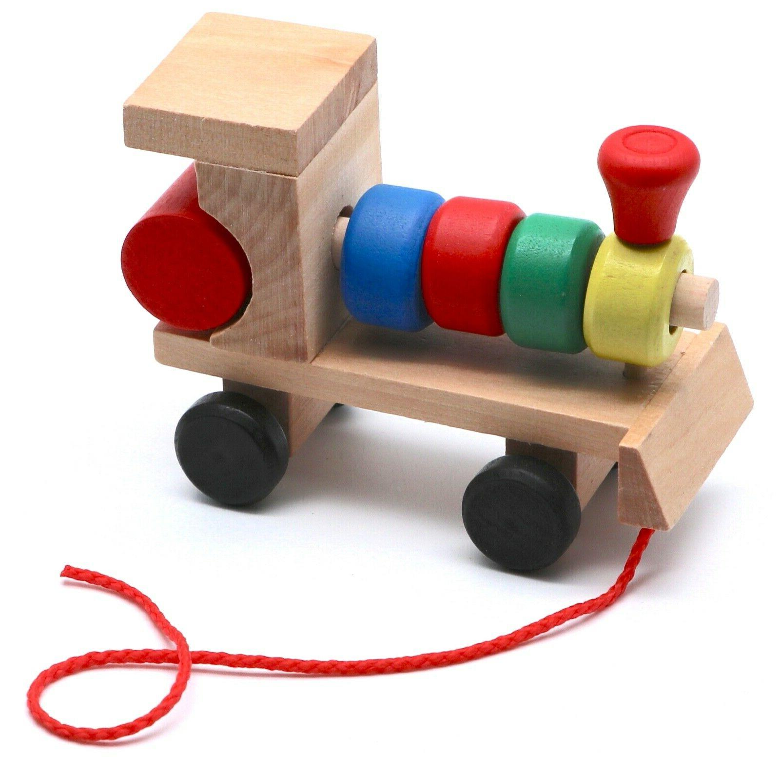 Montessori Educational Wooden Train Figures for Babies Toddlers,