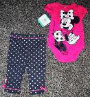 NWT Baby Girls Short Sleeve Minnie Mouse Two Piece Outfit Si