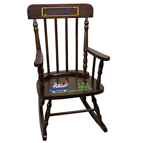 personalized espresso rocking chair