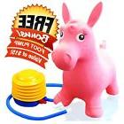 Kids Pink Horse Hopper, Inflatable Jumping Ride-on Bouncy Bo