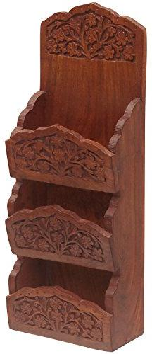 SouvNear 11.8 Inch Letter Rack/Mail Holder in Rosewood with