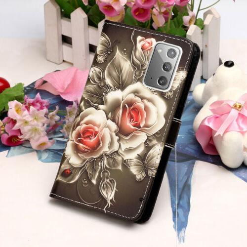 For Samsung Galaxy Note20 Ultra Leather Cards Stand Case