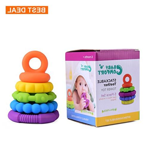 Stacking Baby Teether Toy - Sensory Silicone Teething Rings