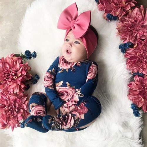US Newborn Flower Romper Bodysuit Jumpsuit Leg Warmer Outfits