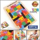 Wood Tangram Jigsaw Build Blocks Tetris Teaser Puzzle Toy Ki