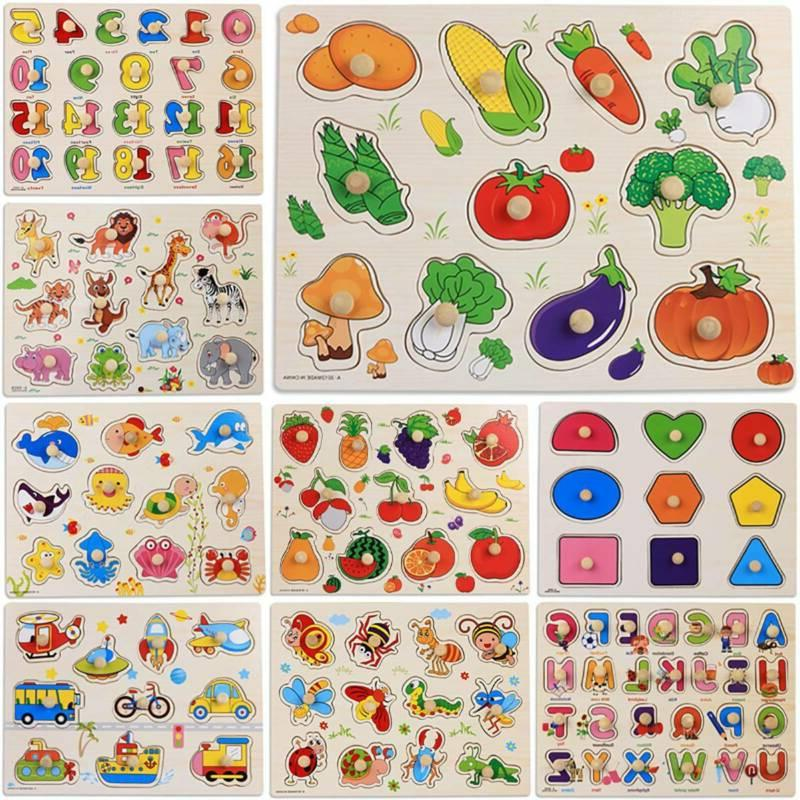 wooden animal letter jigsaw puzzle early educational