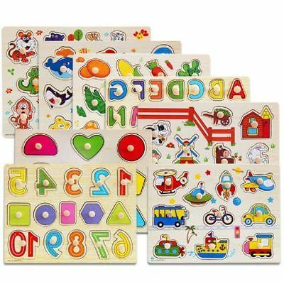 baby kids letter puzzle wooden animal jigsaw