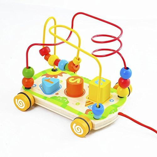 wooden rolling bead maze toy
