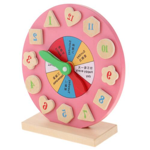 Wooden Time Learning Clock Montessori Teaching Aids for Baby