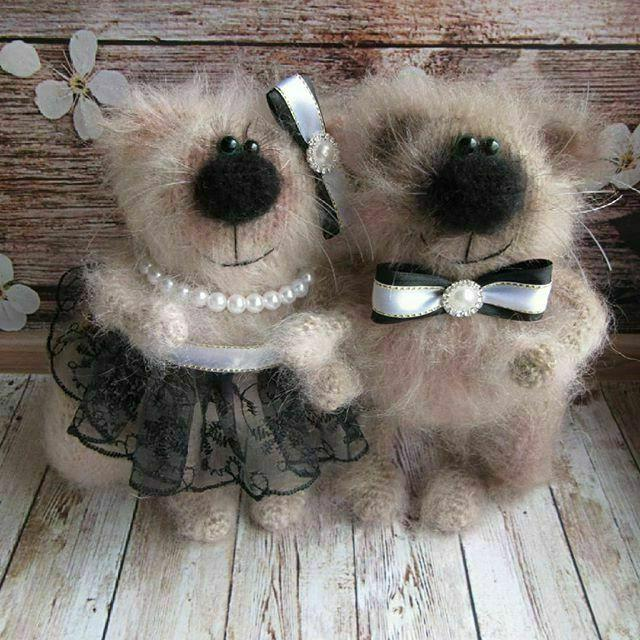 wool knitted cats couple cute toy