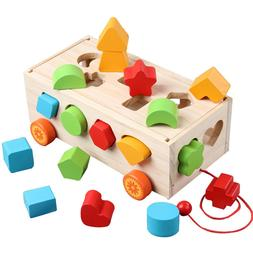 DeceStar Large Wooden Shape Sorter Bus for Toddlers and Baby