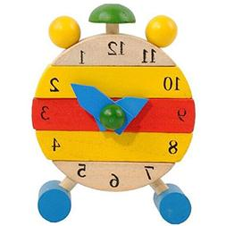 Learn Time Clock Toys,Kids Hand Made Educational Wooden Toys