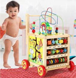 Child Learning Wooden Activity Multifunctional bead Cube Maz