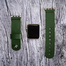 Leather apple watch band 42mm / 38mm // Green iwatch band -