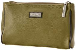 Hadaki Leather Scoop Pod Carry-All Cosmetic Bag,Moss Green,O