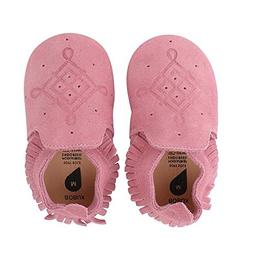 Bobux Leather Baby Shoes - Pink Suede Moccasin Loafer - Medi
