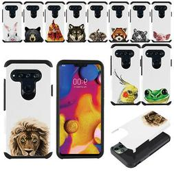 "For LG V40 ThinQ 6.4"" Animal Hybrid Bumper Protective Hard T"